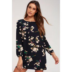LULU'S Herbaceous Babe Navy Floral Shift Dress E17
